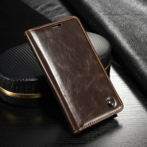 CASEME Oil Wax Wallet Leather Stand Cover for Samsung Galaxy S5 mini G800 - Brown
