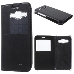 View Window Leather Flip Phone Case for Samsung Galaxy J2 SM-J200 - Black