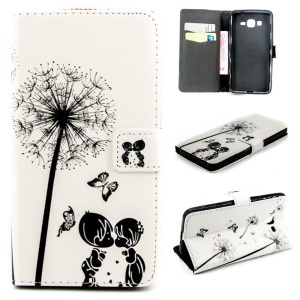 Embossed Leather Wallet Cover for Samsung Galaxy Grand Prime G530 - Dandelion, Butterflies and Lovers
