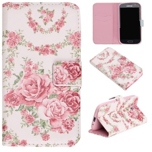 Embossed Leather Phone Cover for Samsung Grand I9082 / Grand Neo I9060 - Pretty Roses