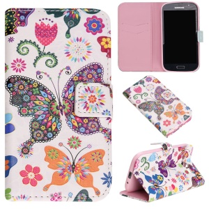 Embossed Leather Flip Case for Samsung Grand I9082 / Grand Neo I9060 - Colorful Butterflies and Flowers