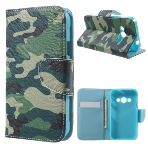 Flip Leather Wallet Stand Shell Case for Samsung Galaxy Xcover 3 SM-G388F - Camouflage