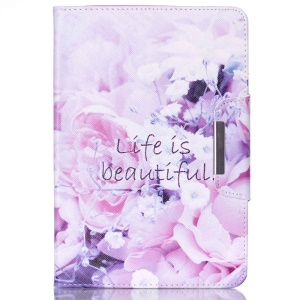 PU Leather Wallet Stand Smart Case for Samsung Galaxy Tab A 8.0 T350 - Life Is Beautiful and Pretty Flowers