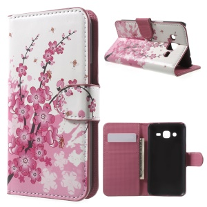 Diary Style Wallet Stand Leather Shell for Samsung Galaxy J2 SM-J200 - Plum Blossom