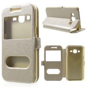 Dual View Windows Silk Texture Leather Cover for Samsung Galaxy J2 SM-J200 - Champagne