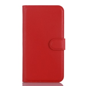 Litchi Skin Leather Wallet Case Cover for Samsung Galaxy J3 / J3 (2016) - Red