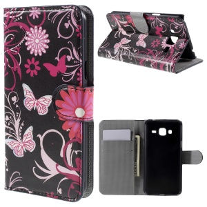 Flip Wallet Stand Leather Cover for Samsung Galaxy J3 / J3 (2016) - Butterfly Flowers