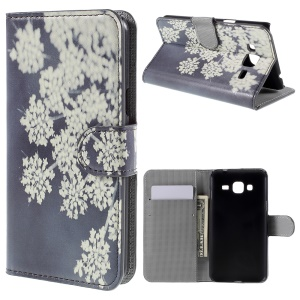Diary Style Wallet Stand Leather Case for Samsung Galaxy J3 / J3 (2016) - Pretty White Blossom