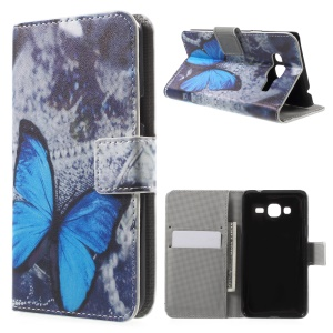 Wallet Stand Leather Phone Case for Samsung Galaxy J3 / J3 (2016) - Blue Butterfly