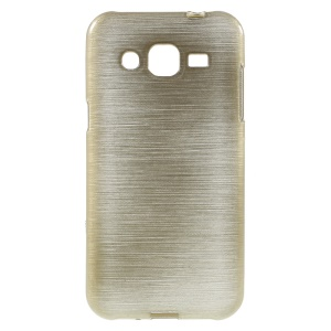 Glossy Outer Brushed Inner TPU Protective Case for Samsung Galaxy J2 SM-J200 - Champagne