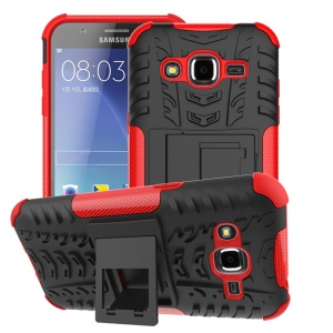 Tyre Pattern 2 in 1 PC + TPU Hybrid Cover for Samsung Galaxy J2 SM-J200 - Red