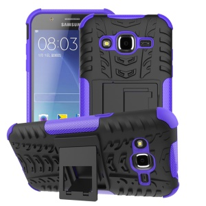 Tyre Pattern PC + TPU Combo Case Cover for Samsung Galaxy J2 SM-J200 - Purple