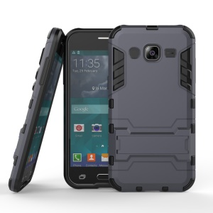 Cool Kickstand PC + TPU Hybrid Case for Samsung Galaxy J2 SM-J200 - Dark Grey