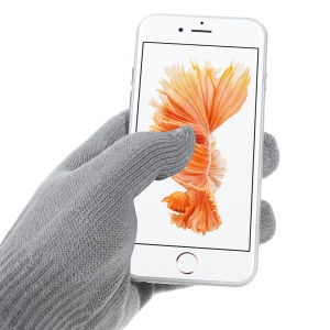 Guanti schermo iGlove Interwoven Touch per iPhone iPad e dispositivi touchscreen capacitivi - grigio chiaro