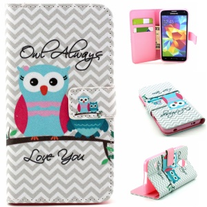Leather Wallet Cover for Samsung Galaxy S5 G900 / S5 Neo SM-G903F - Owls and Chevron