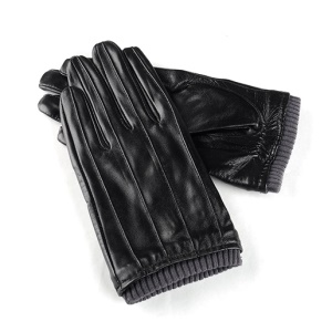 Men Winter Touch Screen Driving Gloves Sheepskin Genuine Leather Texting Mittens
