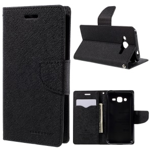 MERCURY Goospery Wallet Leather Case for Samsung Galaxy J2 SM-J200 with Stand - Black