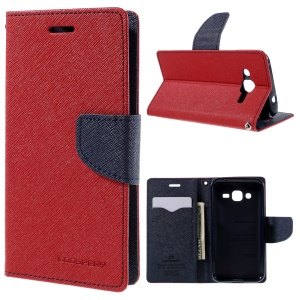 MERCURY Goospery Wallet Leather Cover for Samsung Galaxy J2 SM-J200 with Stand - Red