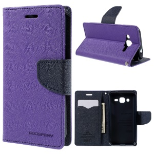 MERCURY Goospery Wallet Stand Leather Shell for Samsung Galaxy J2 SM-J200 - Purple