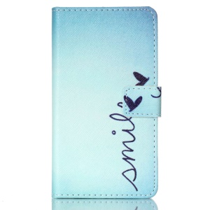 Stand Leather Wallet Cover Case for Galaxy A5 SM-A500F - Word Smile and Butterfly