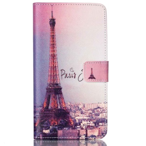 Protective Wallet Stand Leather Shell Case for Samsung Galaxy J7 SM-J700F - Paris Eiffel Tower