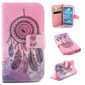 Leather Case Cover for Samsung Galaxy S4 I9505 - Dreamcatcher and Henna Lotus