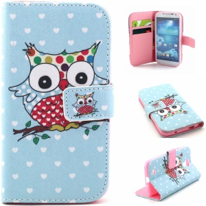 Leather Card Holder Case for Samsung Galaxy S4 I9502 - Lovely Owl on Branch