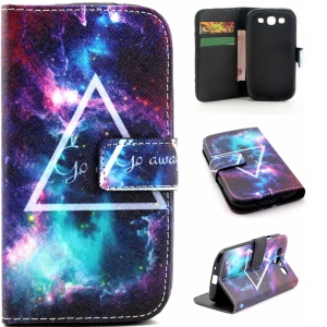 PU Leather Stand Case for Samsung Galaxy S3 I9300 - Triangle and Space
