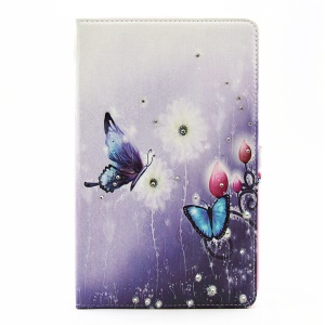 Rhinestone Leather Stand Case for Samsung Galaxy Tab E 9.6 T560 - Butterfly & Flower