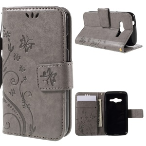 Butterfly Leather Wallet Case for Samsung Galaxy V Plus SM-G318/ Trend 2 Lite G318H - Grey