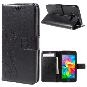 Butterfly Leather Wallet Case for Samsung Galaxy Grand Prime SM-G530 - Black