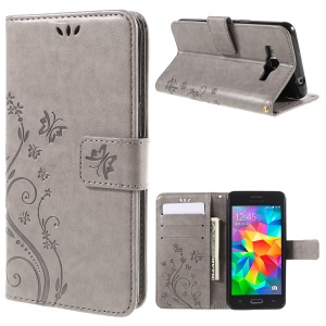 Butterfly Leather Wallet Cover for Samsung Galaxy Grand Prime SM-G530 - Grey