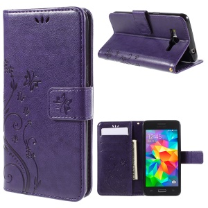 Butterfly Leather Wallet Cover for Samsung Galaxy Grand Prime SM-G530 - Purple