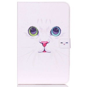Protective Leather Stand Cover for Samsung Galaxy Tab E 9.6 T560 - Adorable Cat