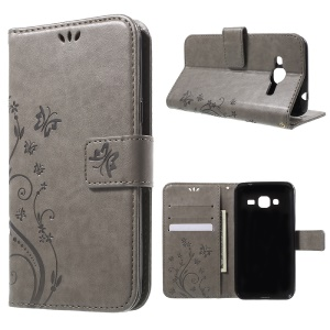 Butterfly Leather Card Holder Cover for Samsung Galaxy J3 / J3 (2016) - Grey