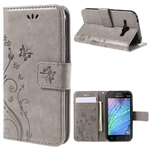 Butterfly Leather Wallet Cover for Samsung Galaxy J1/J1 4G - Grey