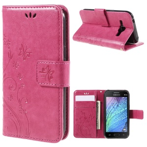 Butterfly Leather Wallet Shell for Samsung Galaxy J1/J1 4G - Rose