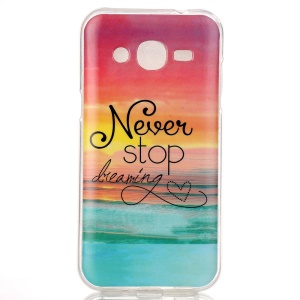 Soft IMD TPU Shell Case for Samsung Galaxy J2 SM-J200 - Quote Never Stop Dreaming