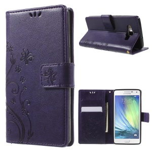 Butterfly Stand Leather Wallet Cover for Samsung Galaxy A5 SM-A500F - Purple