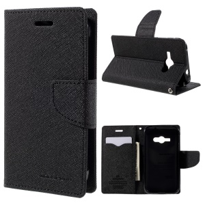MERCURY Goospery Leather Wallet Case for Samsung Galaxy J1 Ace SM-J110 - Black
