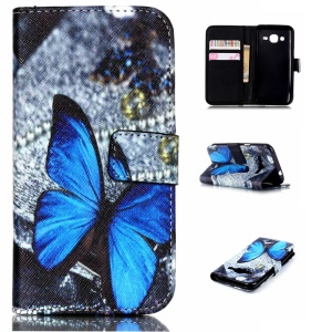 Wallet Leather Case Cover for Samsung Galaxy J2 SM-J200 - Blue Butterfly