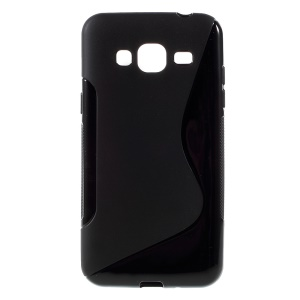 S Shape Soft TPU Case Cover for Samsung Galaxy J3 / J3 (2016) - Black