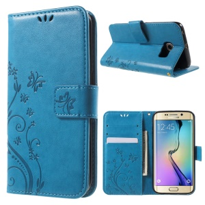 Butterfly Stand Leather Phone Cover for Samsung Galaxy S6 Edge G925 - Blue