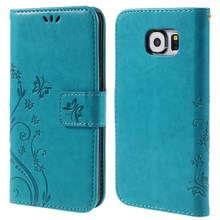 Butterfly Protective Leather Shell Cover for Samsung Galaxy S6 G920 - Blue