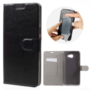 Crazy Horse Leather Card Holder Case for Samsung Galaxy A9 - Black