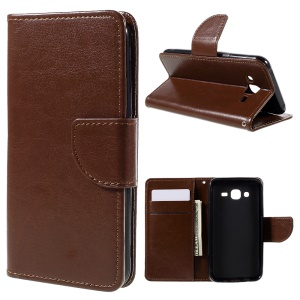 Flip Leather Wallet Stand Case for Samsung Galaxy J5 SM-J500F - Brown