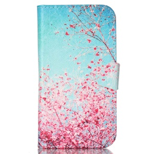 Protective Leather Stand Case for Samsung Galaxy S5 G900 - Pretty Peach Blossom