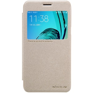 NILLKIN Sparkle View Window Leather Phone Case for Samsung Galaxy J3 / J3 (2016) - Gold
