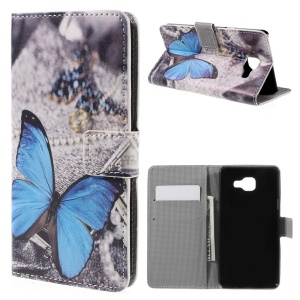 Leather Case Card Holder for Samsung Galaxy A5 SM-A510F - Blue Butterfly