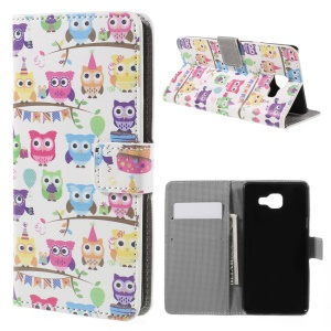 Leather Phone Case for Samsung Galaxy A5 SM-A510F (2016) - Multiple Cute Owls